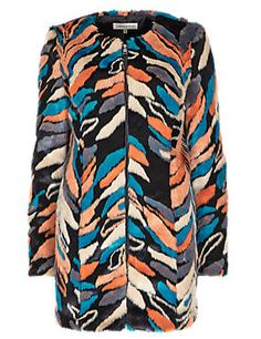 Faux Fur Abstract Print Overcoat