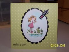 Elzybells Girl & Frog by Rubber Stamp Nut - Cards and Paper Crafts at Splitcoaststampers