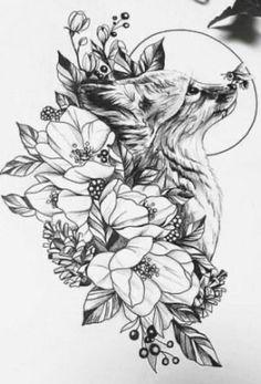 Dog Tattoos, Animal Tattoos, Body Art Tattoos, Animal Thigh Tattoo, Fox Tattoo Design, Tattoo Designs, Tattoo Ideas, Tattoo You, Arm Tattoo