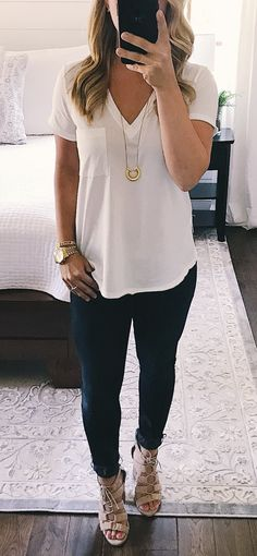 #summer #outfits A $15 Tee, My New Favorite Necklace And A Questionable Leg Stance. Happy Tuesday.