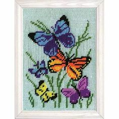 Shop for Butterflies Galore Needlepoint Stitched In Yarn. Get free delivery On EVERYTHING* Overstock - Your Online Sewing & Needlework Shop! Cross Stitching, Cross Stitch Embroidery, Hand Embroidery, Needlepoint Designs, Needlepoint Kits, Cross Stitch Designs, Cross Stitch Patterns, Butterfly Cross Stitch, Butterfly Kit