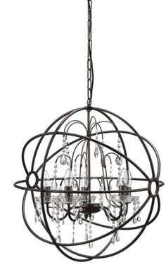 "Add interest to your space with this beautiful metal and crystal chandelier. Measurements: 24 1/2""Diameter x 25 1/2""H"