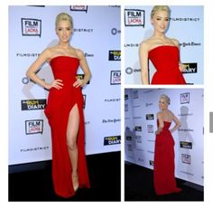 Glamorous Amber Heard Strapless Side Slit Red Evening Gown Rum Diary Premiere Red Carpet Celebrity Dress $119.99