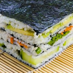 Sushi Napolean    1.5 cups sushi rice, washed  2.5 cups water    1 tablespoon rice vinegar  1 tsp sugar    4 sheets nori    15-20 think asparagus spears  1/3 cuke  1 whole avocado  Shredded carrots, small handful    Dipping ideas: