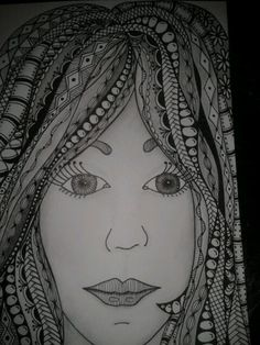 Zentangled lady. Inspired by Tiffany Lovering