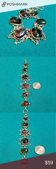 """Dichroic 925 Sterling Silver Bracelet New Brand new 925 sterling silver dichroic cabochons bracelet. Adjustable about 7 1/4 """" to 8 1/2 """" toggle clasp . Artisan crafted . Jewelry Necklaces"""