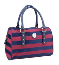 Tommy Hilfiger Signature Satchel Top Handle Bag Red & Blue