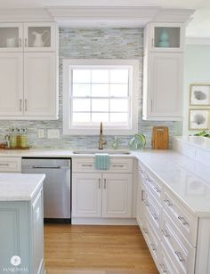 See our process for Installing a Paper Faced Mosaic Tile Backsplash in our coastal kitchen with tile by Lunada Bay Tile Company.