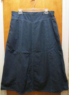 Orvis Denim Jean Skirt Long Full Western Boho Prairie Modest No Slits Size 16  #Orvis #ALINEFullSkirt