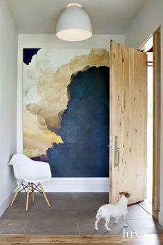 Beautiful cloud wall painting statement wall