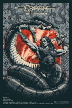 Love this so much more than the 'normal' edition, it just pops more and really shows off the snake.  Mondo: The Archive | Jason Edmiston - Conan the Barbarian - Variant, 2012 screen, movi poster, conan, jason edmiston, mondo poster, blog, posters, barbarian, print