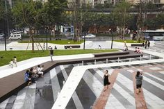 Vanke Chongqing Xijiu Plaza, Chongqing by ASPECT Studios >>> http://landarchs.com/awesome-plaza-design-shows-china-world-leaders-landscape-architecture/ #urbanlandscapearchitecture