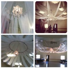 DIY ceiling decor. All you need is tulle, PVC in hula hoop shape,white Christmas lights, a chandelier (hobby lobby) and some men :) professional photo to come...