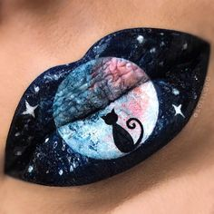 """Magical Black Cat and Full Moon Lip Art by (@lolilooo) on Instagram: """""""
