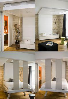Bedup, le lit escamotable qui grimpe au plafond. Fabuleuse idée! Guest Bed, Guest Room, Heim, Space Saver, Room Saver, Secret Storage, Hidden Storage, Ceiling Bed, Ceiling Storage