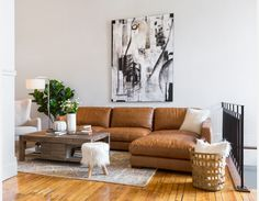 HIGHLAND - 100 % Leather sectional sofa right - Caramel