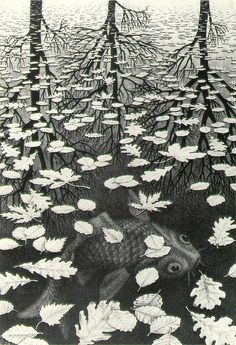MC Escher, Three Worlds, 1955