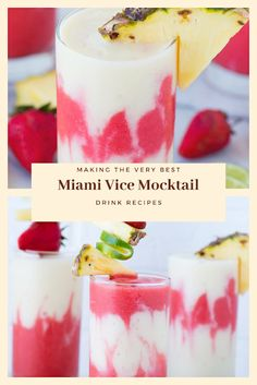 Find easy-to-make comfort food recipes like Healty recipes, dinner recipes and more recipes to make your fantastic food today. Easy Drink Recipes, Nut Recipes, Dinner Recipes, Mocktail Drinks, Strawberry Juice, Miami Vice, Frozen Strawberries, Toasted Coconut, Healthy Drinks