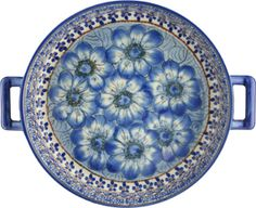 light blue flower polish pottery