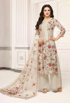 Scintillating Off White Printed Palazzo Salwar Suit