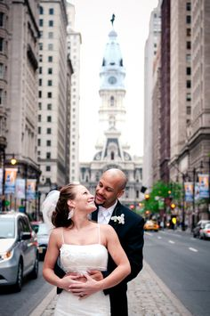 Simmone von Sydney Photography - bride and groom by City Hall in Philadelphia.