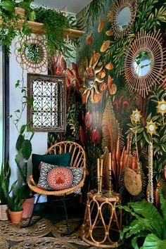 All my self-adhesive and traditional wallpapers with -15%! #wallmural #wallmurales #wallpaper #wallpapers #interiordesign #interiordecor #homedecor #homedecorideas #forest #jungle #tropical #exotic #colorful #vintage #retro #vintagehome Hippie Home Decor, Bohemian Decor, Hippie Bohemian, Hippie Style, Boho Style, Hippy Room, Jungle Room, Jungle Living Room Ideas, Room With Plants