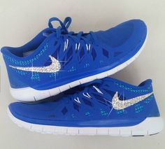 new product 10705 0b45d Bling Nike Outlet Shoes With Swarovski Elements Crystals Royal Blue White  Hotroshes Glitter Sneakers 2015 Sale