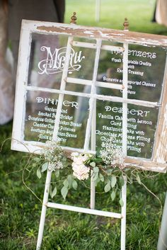 Menu | Rustic Window | See the wedding on SMP: http://www.StyleMePretty.com/illinois-weddings/2014/01/24/blush-pink-farm-wedding/ J Elizabeth Photography
