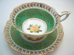 Coffee Cups And Saucers, Cup And Saucer Set, Tea Cup Saucer, Fine China Patterns, White Tea Cups, Royal Stafford, Rosa Rose, My Cup Of Tea, Yellow Roses