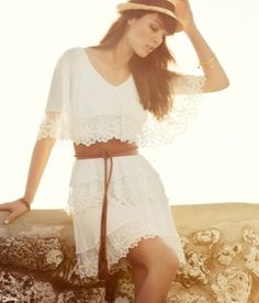 To find out about the White Lace Cascading Ruffle Sweet Dress at SHEIN, part of our latest Dresses ready to shop online today! Pretty Dresses, Beautiful Dresses, Sweet Dress, Looks Style, Dress Me Up, White Lace, White Dress, White Cotton, Dress To Impress