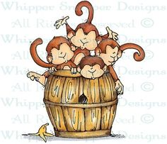 Barrel of Monkeys - Zoo - Animals - Rubber Stamps - Shop
