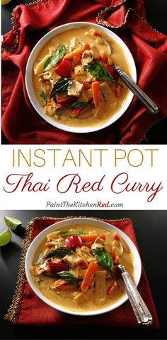 This Instant Pot Thai Red Curry with Chicken is just delightful! It makes a perfect meal when paired with Jasmine Rice, and it comes together so quickly in the Instant Pot. Perfect for a busy weeknight meal. From Paint the Kitchen Red
