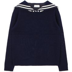 Knitted Sailor Collar Pullover (250 SEK) ❤ liked on Polyvore featuring tops, sweaters, nautical sweater, sweater pullover, sailor top, bunny sweater and blue pullover