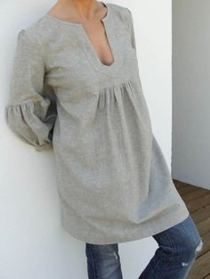 Dress or Tunic - My Garden - Hemp linen color - Only SIze M