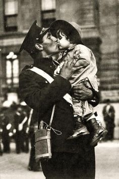 A Canadian soldier kisses his daughter before going to war, 1914