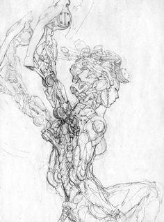 Inktober Art inspiration and artwork drawing Arte Cyberpunk, Drawing Sketches, Art Drawings, Illustration Fantasy, Character Art, Character Design, Arte Robot, Robot Concept Art, Sci Fi Art