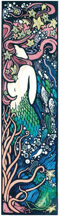Water Spirit with Stars in Her Hair - Linocut (hand-painted) by Lori Biwer Stewart