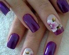 Pretty Purple Flower Nail Art Design - Nail My Polish