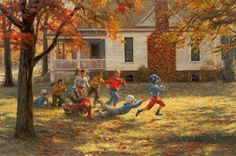 Fall Football by Andy Thomas - Andy Thomas is not only an immensely talented painter, but also a storyteller with the images he creates. His subject matter consists of a variety of images from historical events to intimate moments of everyday life. The artist's desire to create is funneled into the area of painting realism that ranges from very loose to very tight. Thomas's medium is primarily oil.