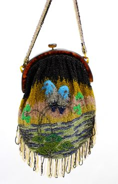 Stunning Antique Vintage Beaded Bag 1920s Bluebirds of Happiness Motif Celluloid Frame Worthy of Miss Fisher