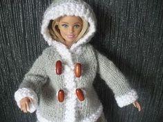 Caban gris et blanc pour Barbie