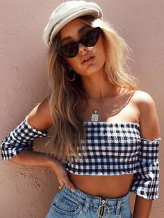 Women Plaid Off The Shoulder Short Sleeve Crop Top #CropTop #Chicstyle #Modernlooks #Modernstyle #StreetWear #ValentinesDay2021 #likeforlike #followme