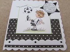 Lili of the Valley LOTV Handmade Birthday Card - Boy with Football - SCT Designs Men's Cards, Boy Cards, Kids Cards, Handmade Birthday Cards, Handmade Cards, Craft Projects, Projects To Try, Male Birthday, Football Birthday