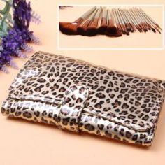 $21.74 24PCS Make Up Soft Hair Brushes Set with  Leopard Print Bag (Brown)