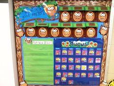 "Owl Classroom Information Board/I've always wondered ""whoooo"" would use that wood border? Well, doesn't it look good with owls! Owl Theme Classroom, Classroom Design, Kindergarten Classroom, Future Classroom, School Classroom, Classroom Organization, Classroom Ideas, Owl School, School Ideas"