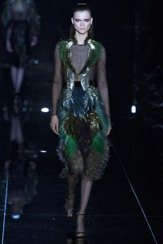 Sea Wave feather and glitter Dress by Gucci   Fall 2013 RTW Collection