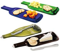 Melted wine bottle cheese trays.