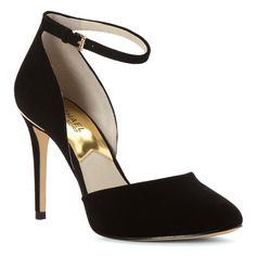 Michael Michael Kors Georgia Ankle Strap Women Patent Leather Black Heels ** You can get more details by clicking on the image.