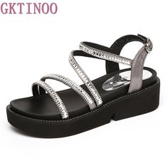 3921c141cd307a Summer Sandals Women Open Toe Wedge Sandals Rhinestone Sweet Shoes Woman  Shoes For Lady Size Plus