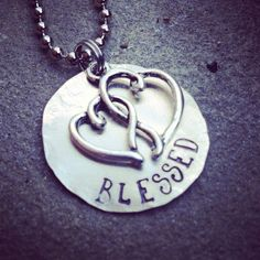 """hand stamped simple disc tag necklace with heart charm accent """"blessed"""" on Etsy, $23.00"""